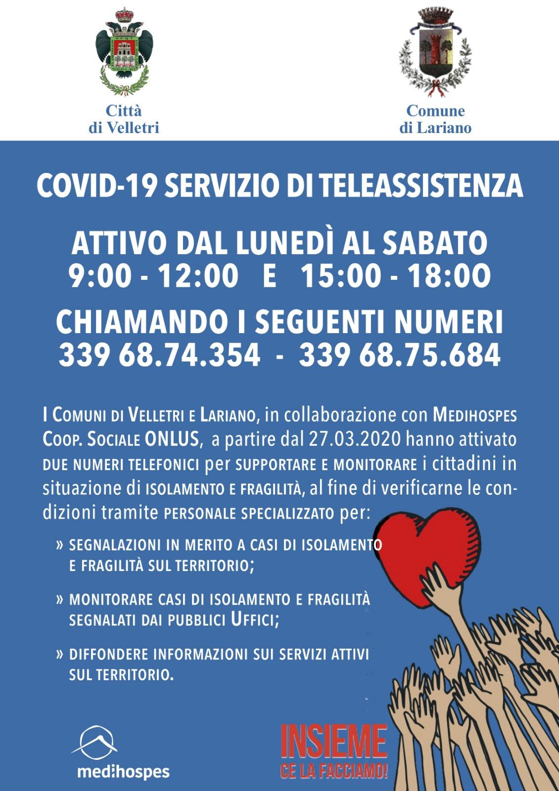 Medihospes, attivato il servizio di supporto per le persone fragili a Velletri e Lariano